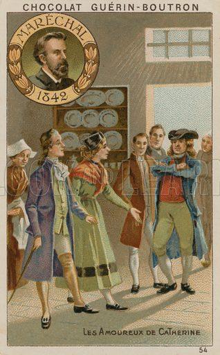 Marechal, Les Amoureux de Catherine.  Card published by Guerin-Boutron, c 1900.  Chromolithograph.
