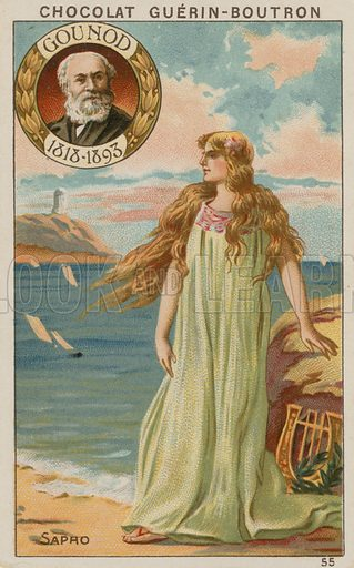 Gounod, Sapho.  Card published by Guerin-Boutron, c 1900.  Chromolithograph.
