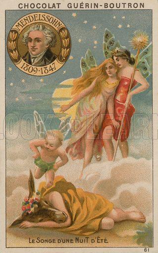 Mendelssohn, Le Songe d'une nuite d'ete.  Card published by Guerin-Boutron, c 1900.  Chromolithograph.