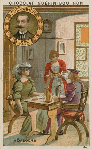 Messager, La Basoche.  Card published by Guerin-Boutron, c 1900.  Chromolithograph.