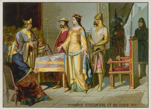 The Divorce of Eleanore of Aquitaine and Louis VII. French educational card, c 1900.