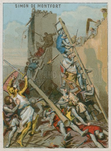 The Death of Simon de Montfort.  French educational card, c 1900.