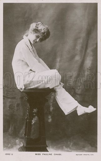Miss Pauline Chase, in pyjama suit.