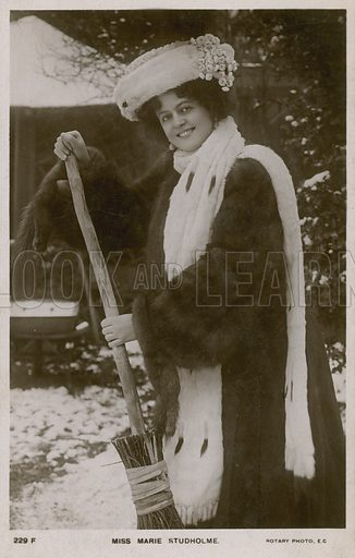 Miss Marie Studholme, brushing snow.