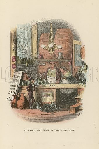 The Public House.  Illustration for David Copperfield by Charles Dickens (Chapman & Hall, c 1900).