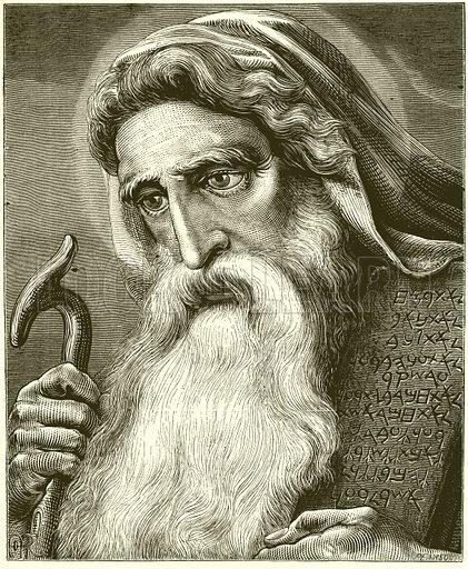Moses.  Illustration for Old Testament Portraits by Cunningham Geikie (Strahan, 1878).  Portraits drawn by A Rowan and engraved by G Pearson.