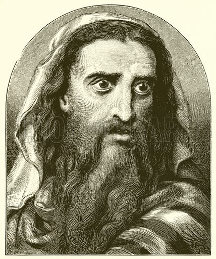 Isaiah. Illustration for Old Testament Portraits by Cunningham Geikie (Strahan, 1878). Portraits drawn by A Rowan and engraved by G Pearson.