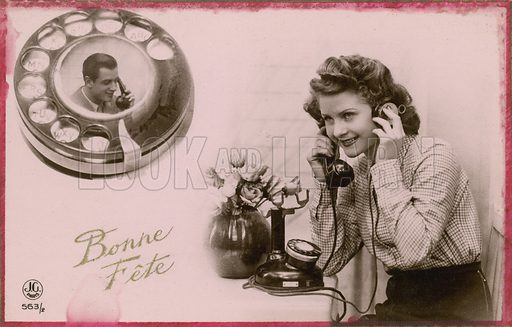 Postcard featuring telephone