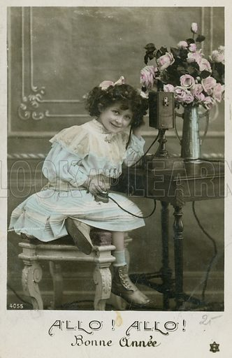 Postcard featuring telephone. Early 20th century.