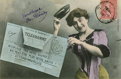 Postcard featuring the postal service, early 20th century.
