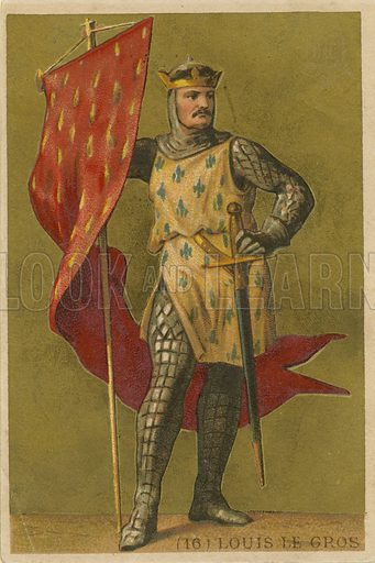 Louis VI.  French educational card, published by Hachette, c 1900.
