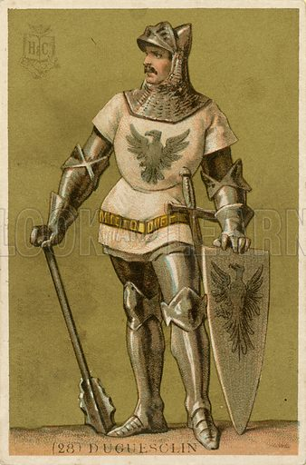 Bertrand du Guesclin.  French educational card, published by Hachette, c 1900.