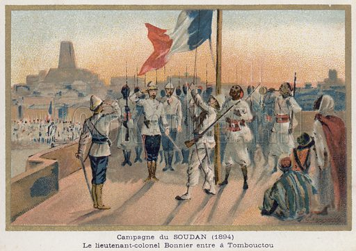 Entry of Lieutenant-Colonel Bonnier into Timbuktu.  French educational card, c 1900.