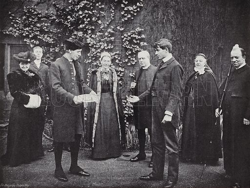 Pancake tossing at Westminster School, the Victor receiving his Guinea. Photograph from Sir Benjamin Stone