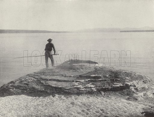 Yellowstone Lake and Hot Springs, Yellowstone National Park. Photograph from Shepp's Photographs of the World (Globe Bible Publishing, c 1890).