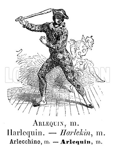 Harlequin. Illustration for Album Vocabulaire (Furne, Jouvet et Cie, c 1880).