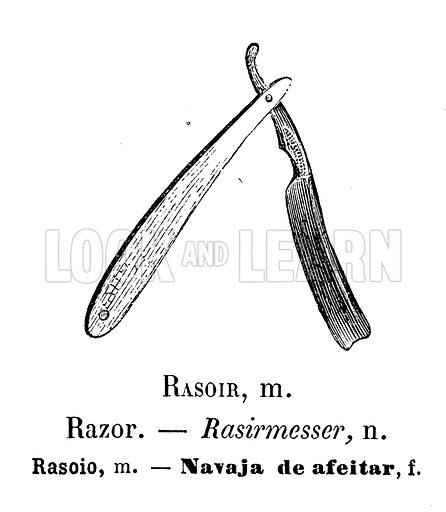 Razor. Illustration for Album Vocabulaire (Furne, Jouvet et Cie, c 1880).