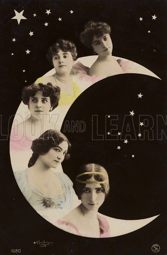 Girls on moon.  Postcard from the Reutlinger Photography Studio, Paris, France.