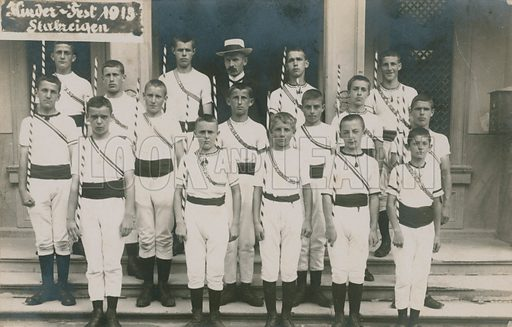 German sporting team, with teacher