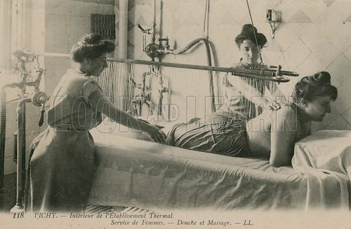 Woman receiving a shower and massage at the thermal baths in Vichy.  Postcard sent in 1913.