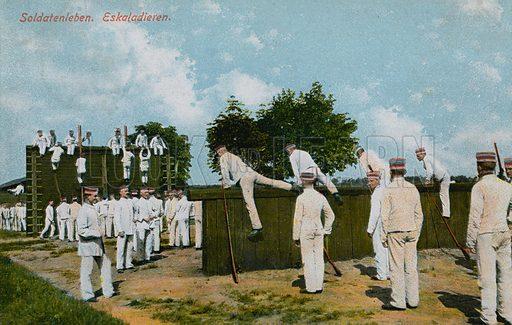 German soldiers exercising.  Postcard sent on 11 June 1913.