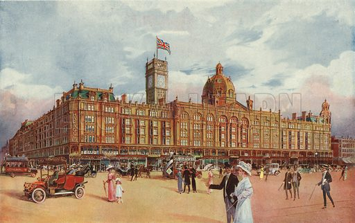 Harrods, showing the Coronation Tower being added to commemorate the coronation of King George V