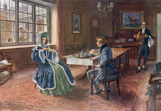 Pip entertains Estella to tea at the Cross Keys in Wood Street, Cheapside upon her arrival from Rochester.  Illustration for Great Expectations.