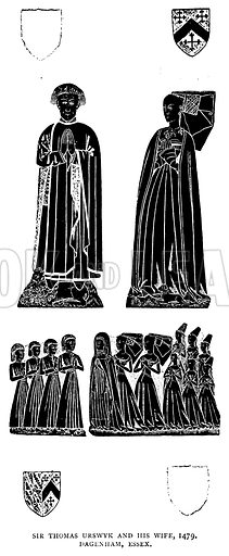 Sir Thomas Urswyk and his Wife, 1479, Dagenham, Essex. Illustration for The Brasses of England by Herbert W Macklin, third edition (Methuen, 1907).