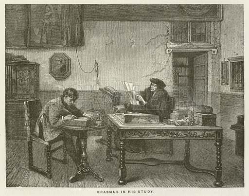 Erasmus in his Study. Illustration for History of the Reformation in the Sixteenth Century by JH Merle d'Aubigne (Religious Tract Society, c 1885).