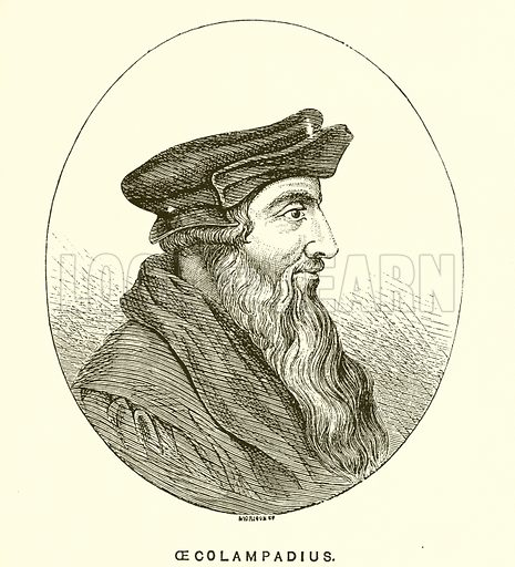 Oecolampadius. Illustration for History of the Reformation in the Sixteenth Century by JH Merle d'Aubigne (Religious Tract Society, c 1885).