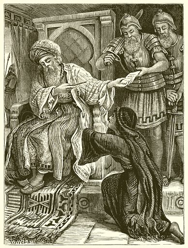 The Unjust Judge. Illustration for Bible Pictures and Stories (Old Testament) by D J D (Partridge, c 1885).