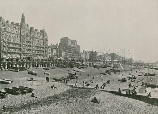 Brighton, the Hotel Metropole and Beach. Photograph from Round the Coast (George Newnes, 1895).