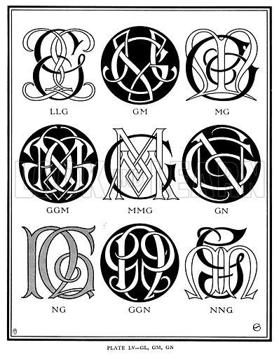 LLG, GM, MG, GGM, MMG, GN, NG, GGN, NNG. Illustration for Monograms and Ciphers designed and drawn by A A Turbayne and other members of the Carlton Studio (Caxton, 1905).
