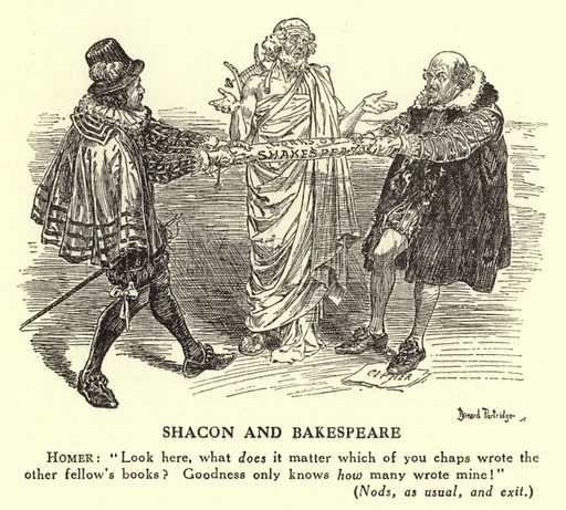 Shacon and Bakespeare - The authorship of Shakespeare. Illustration for Mr Punch's History of Modern England by Charles L Graves (Cassell, 1922).