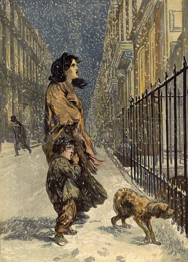 The homeless poor, mother and child with dog in the snow