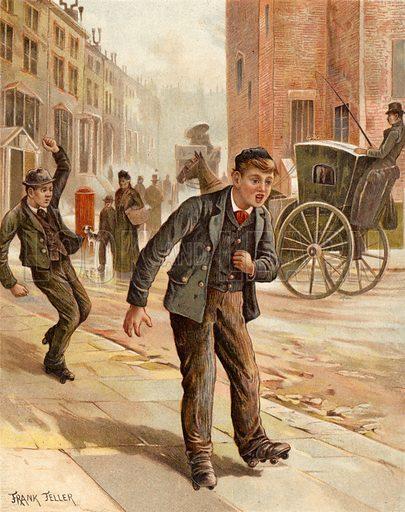 A doubtful turn, boy rollerskating