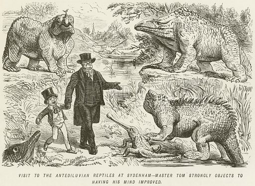 Visit to the Antediluvian Reptiles at Sydenham-Master Tom Strongly Objects to having his Mind Improved