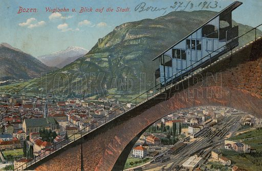 Bolzano – funicular railway and view of the town