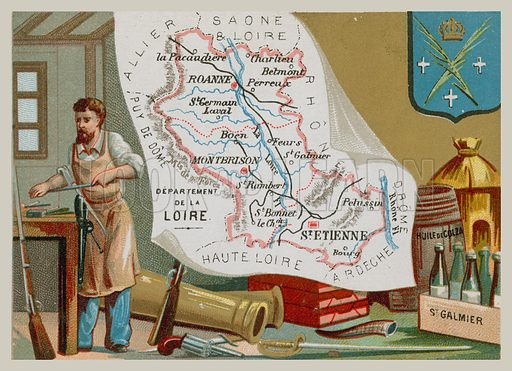 Department of Loire in central France. Postcard with map and local produce.
