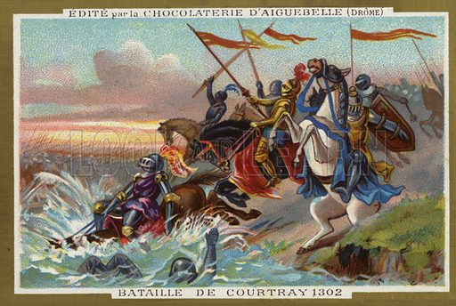 Battle of Courtrai in 1302. Battle between Flemish and French troops on 11 July 1302.