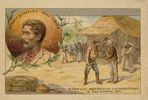 Henry Stanley (1841–1904) finding David Livingstone (1813–1873) in Africa on 3 November 1871.