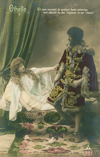 Othello with Desdemona. Scene from William Shakespeare's tragic play written circa 1603. Postcard sent in 1913.