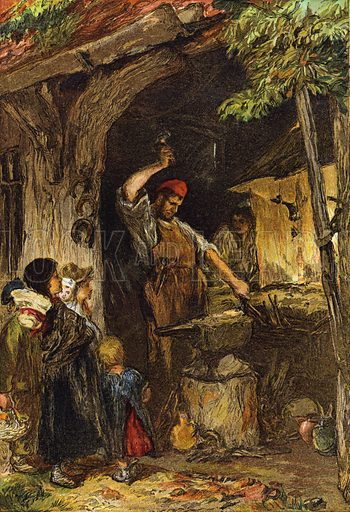 The Village Blacksmith. From Leisure Hour 1864.