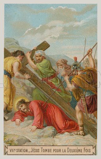 Jesus falls for the second time. The seventh Station of the Cross.