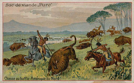 Hunting buffalo in North America. Puro card.