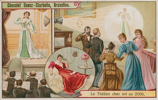 Enjoying the theatre in one's own home in 2000. Chocolat Senez-Sturbelle card.