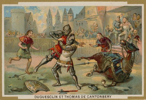 Duel between Bertrand du Guesclin and Thomas of Canterbury, Dinan, Brittany, 1357.