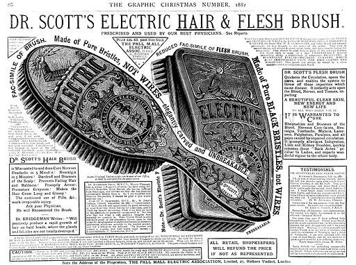 Advertisement for Dr Scott's Electric Hair and Flesh Brush. From The Graphic, Christmas Number, 1882.