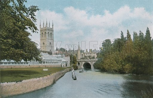 Magdalen, from the Cherwell. Photograph from Pictures in Colour of Oxford (Jarrold, 1900).