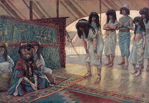Sarai is taken to Pharaoh's Palace, Gen xii 15. Illustration for The Old Testament – Part I(Brunoff, 1904).